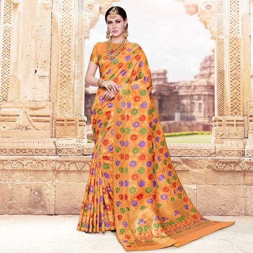 Hypnotic Orange Colored Festive Wear Woven Banarasi Silk Saree