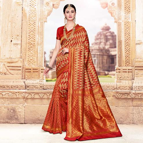 Flattering Beige-Red Colored Festive Wear Woven Banarasi Silk Saree
