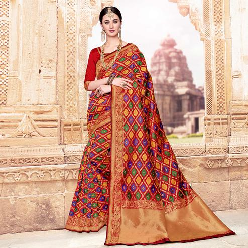 Preferable Red-Multi Colored Festive Wear Woven Banarasi Silk Saree