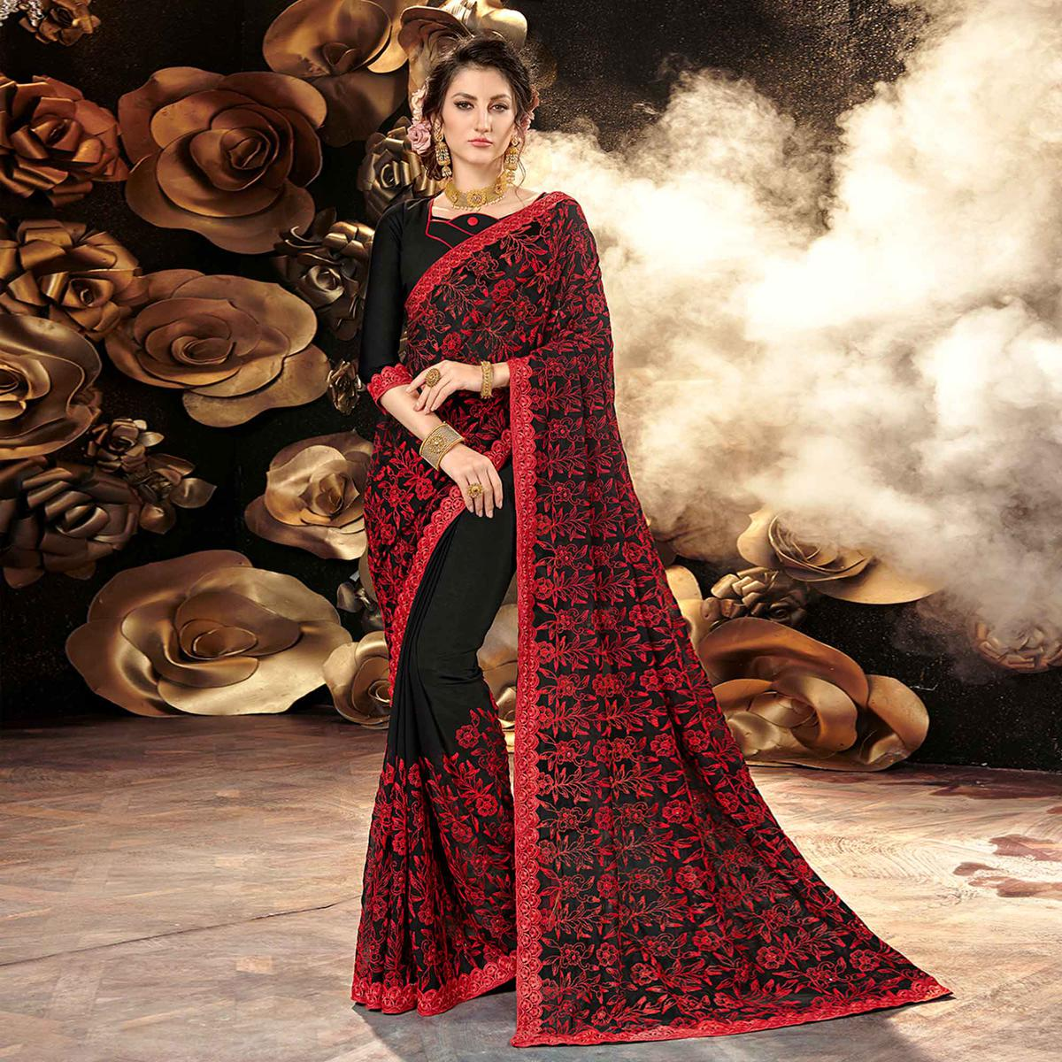 Pleasance Black-Red Colored Partywear Embroidered Georgette Saree