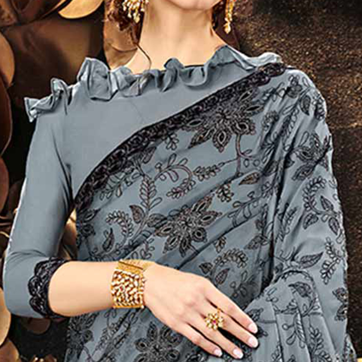 Breathtaking Gray Colored Partywear Embroidered Georgette Saree