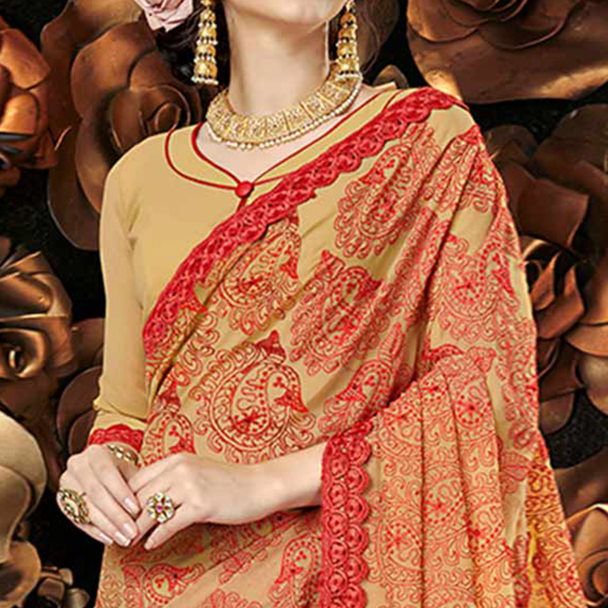 Ravishing Beige Colored Partywear Embroidered Georgette Saree