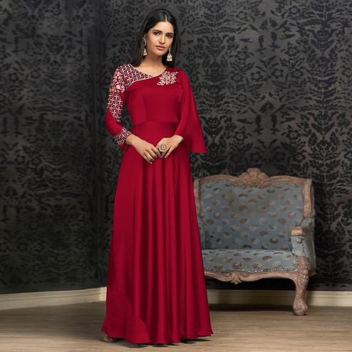 Appealing Red Colored Partywear Embroidered Georgette Gown