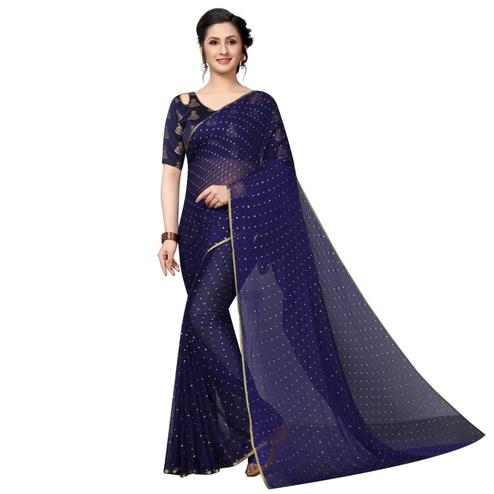 Blooming Navy Blue Colored Casual Wear Chiffon Saree