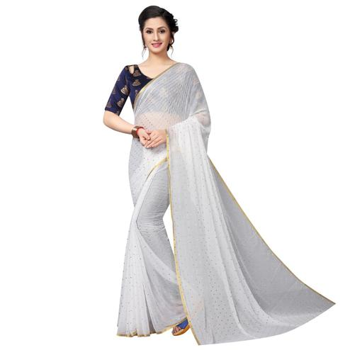 Charming White Colored Casual Wear Chiffon Saree