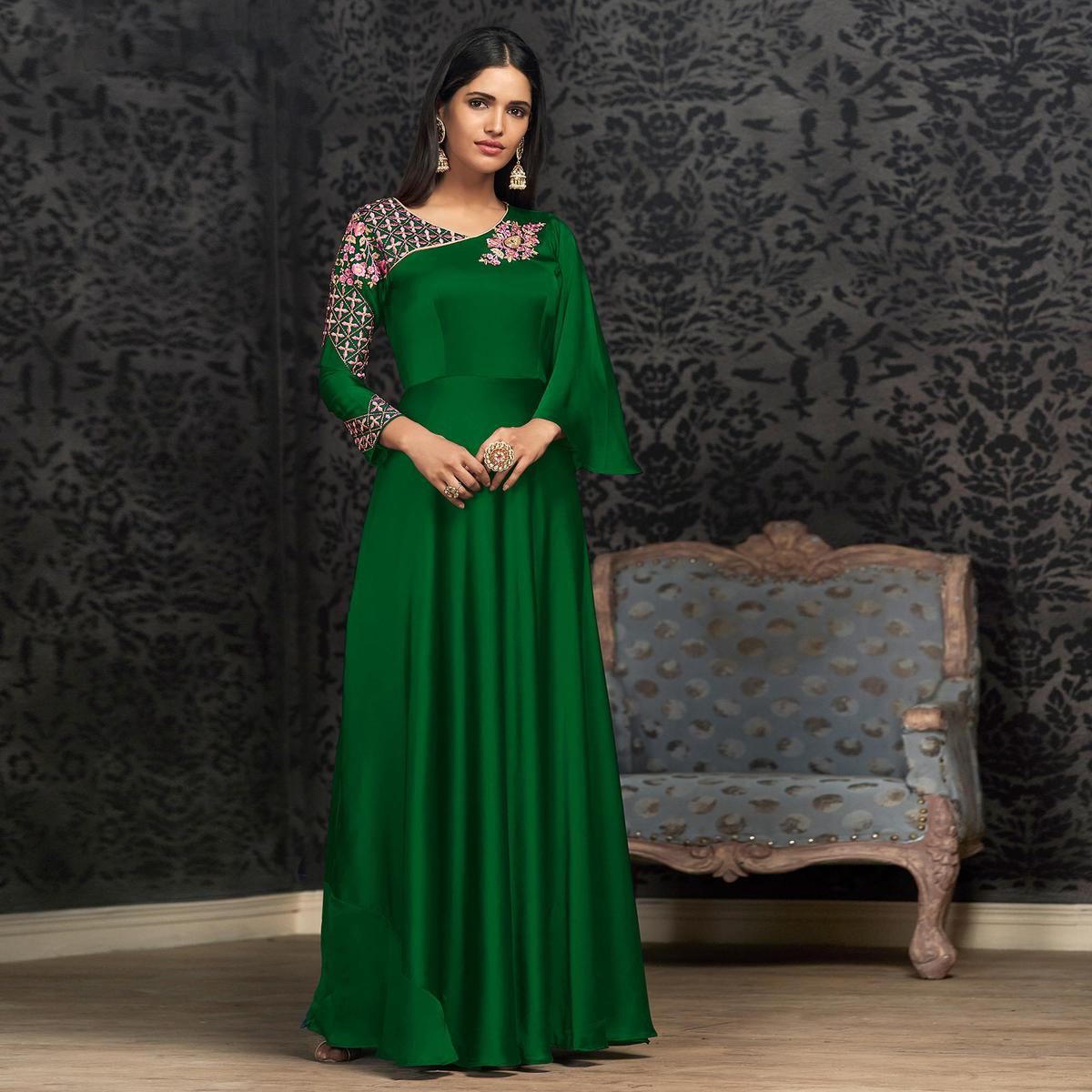 Entrancing Green Colored Partywear Embroidered Georgette Gown
