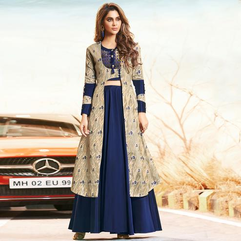 Exceptional Gray-Navy Blue Colored Partywear Embroidered Tapetta Satin Lehenga With Jacquard Koti