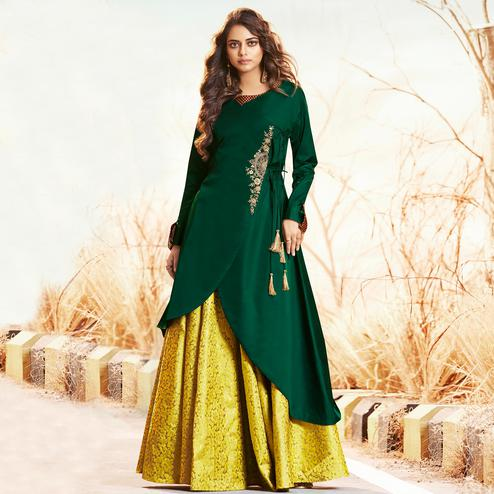 Mesmeric Green-Yellow Colored Partywear Embroidered Jacquard Lehenga With Satin Silk Koti