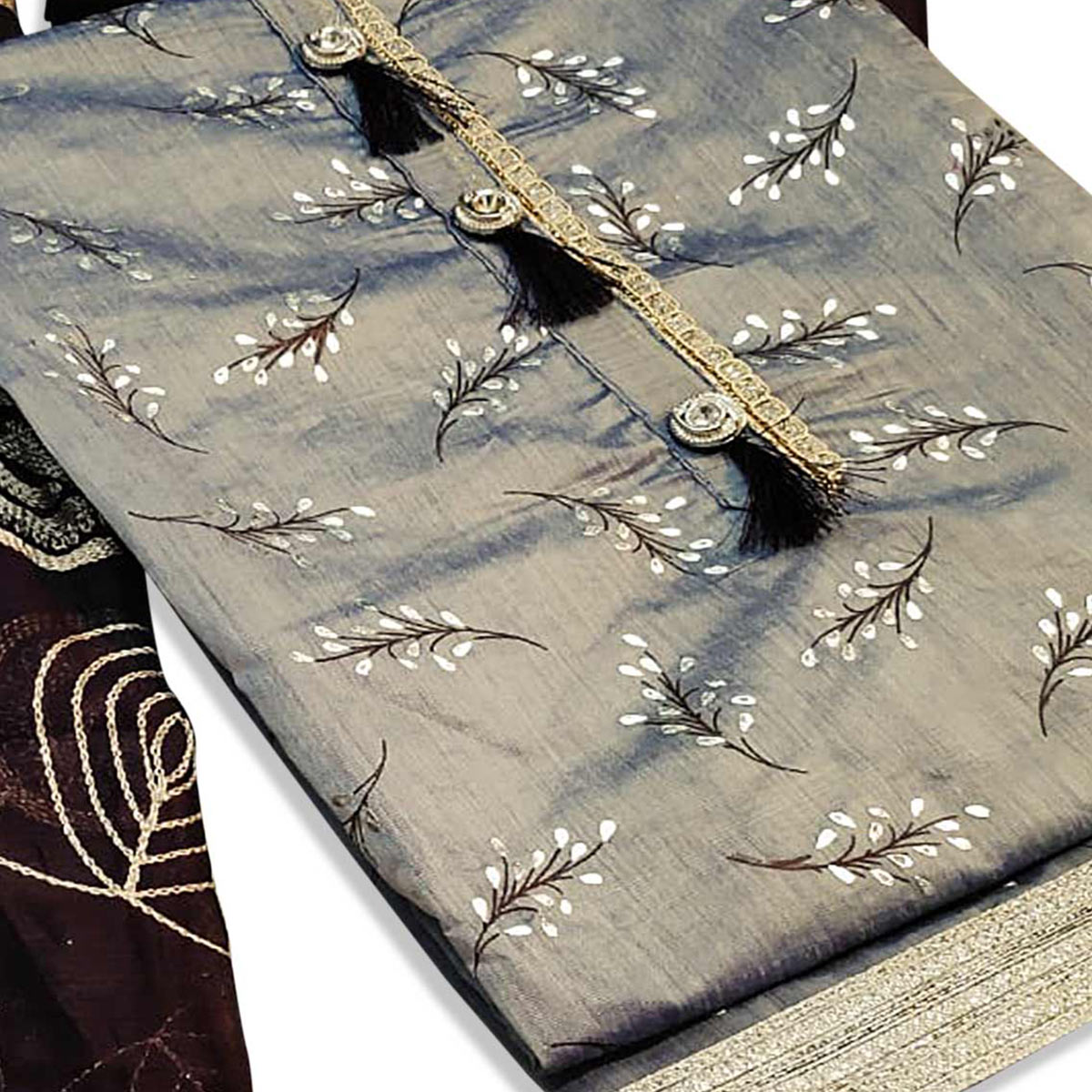Entrancing Grey Colored Partywear Embroidered Chanderi Cotton Dress Material