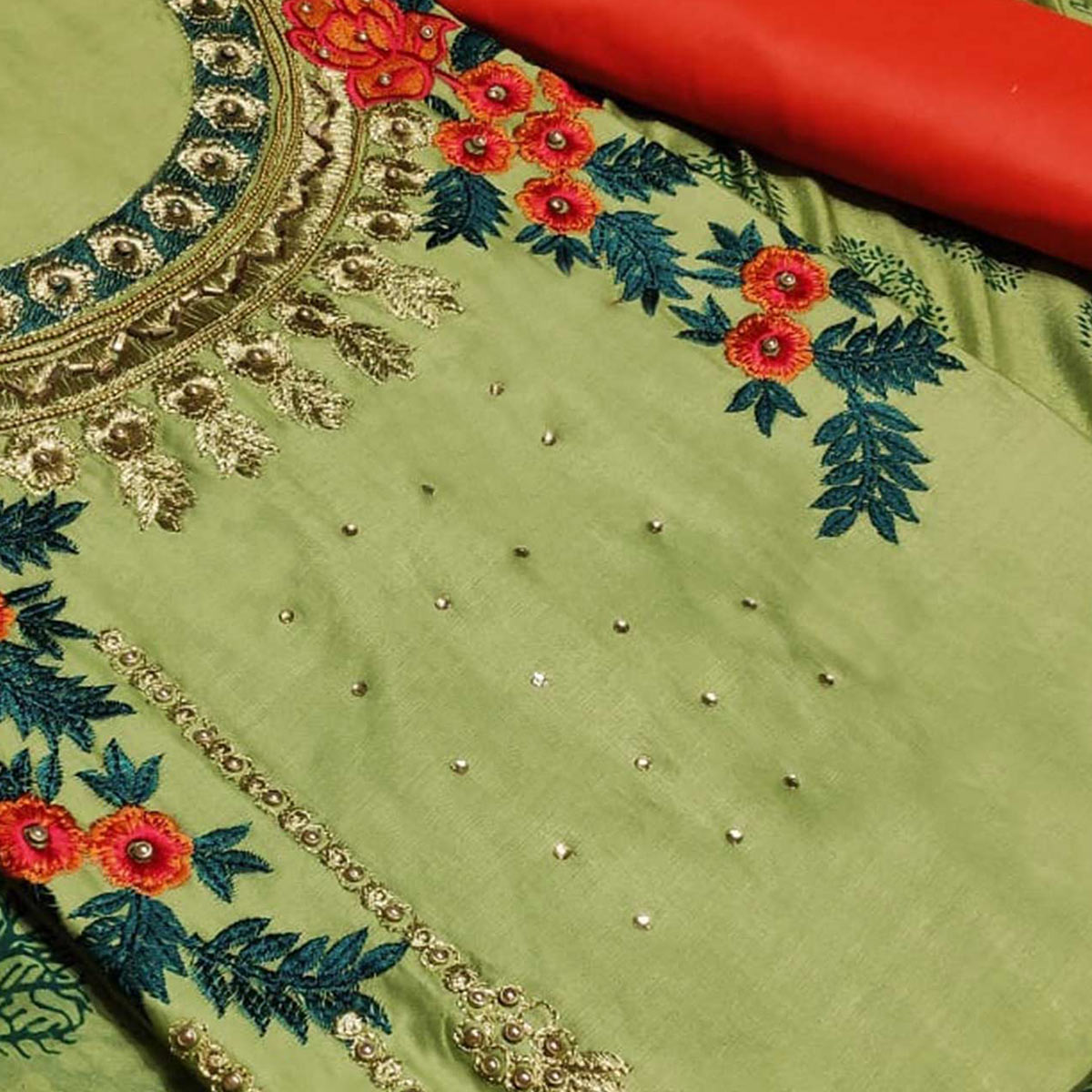 Fantastic Green Colored Partywear Embroidered Art Silk Dress Material