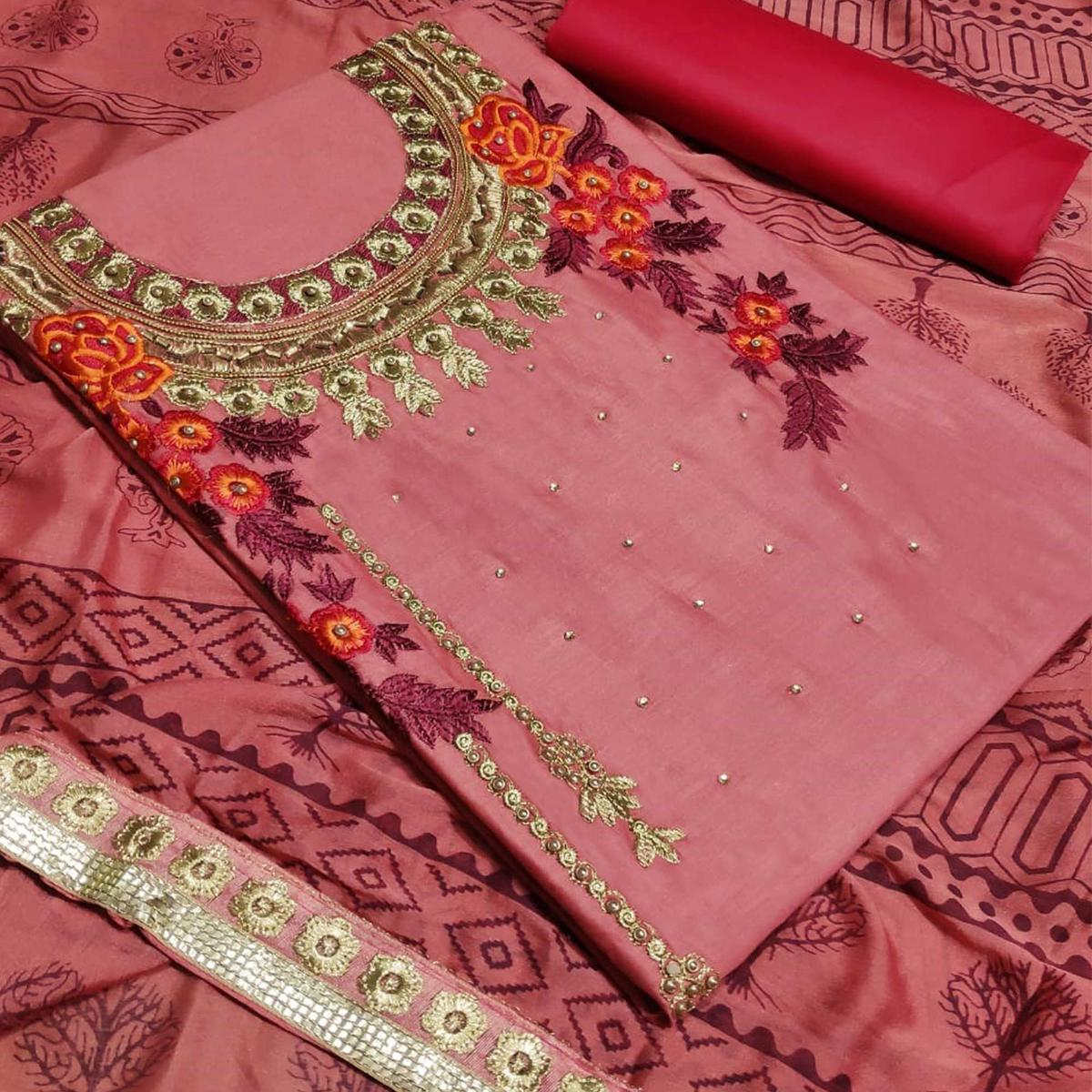 Amazing Pink Colored Partywear Embroidered Art Silk Dress Material