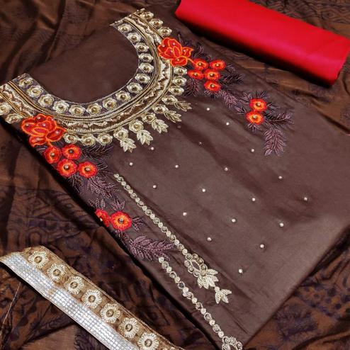 Gorgeous Brown Colored Partywear Embroidered Art Silk Dress Material