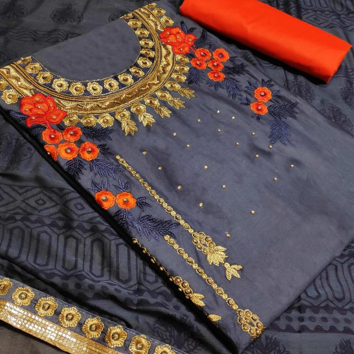 Blissful Grey Colored Partywear Embroidered Art Silk Dress Material