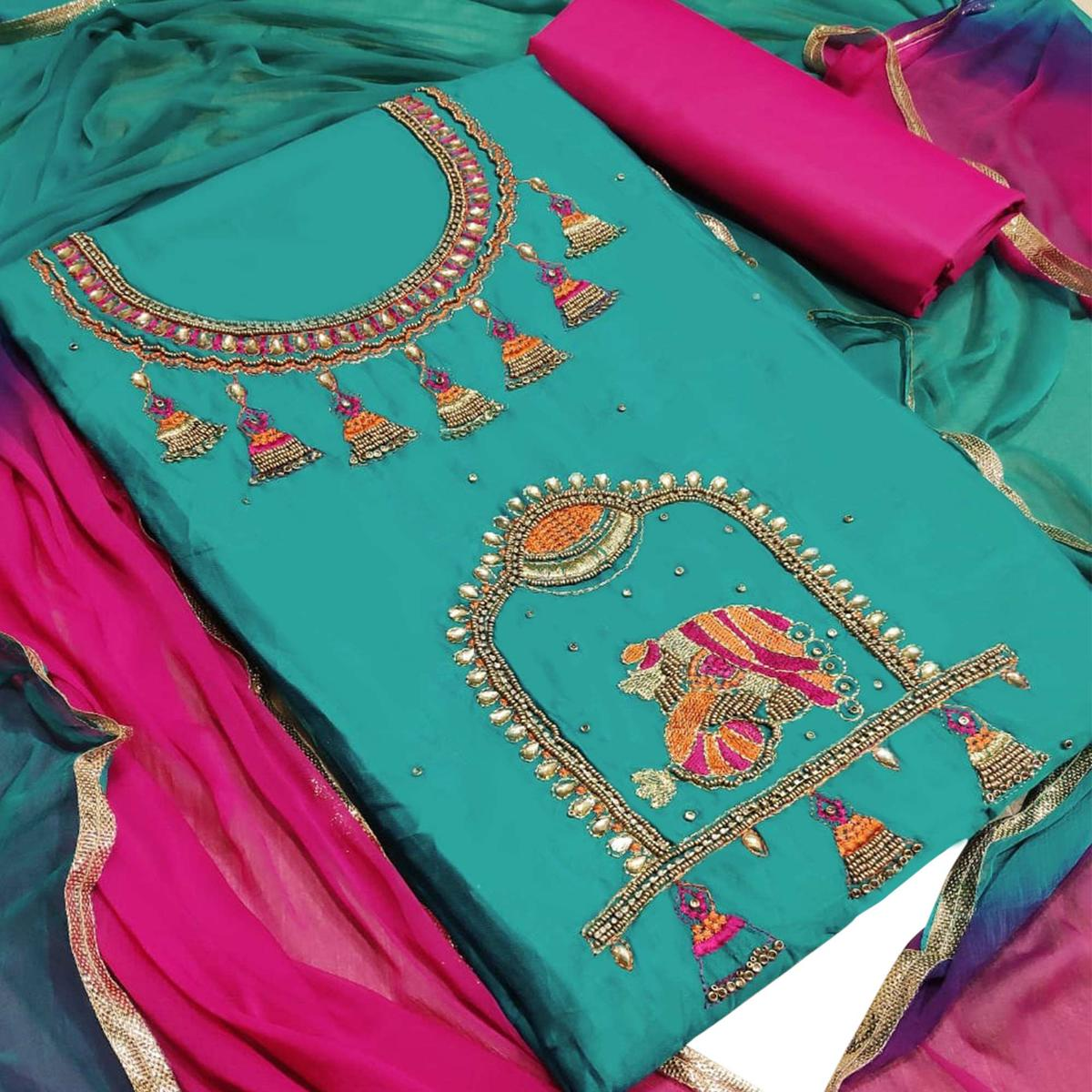Pleasance Sky Blue Colored Partywear Embroidered Art Silk Dress Material