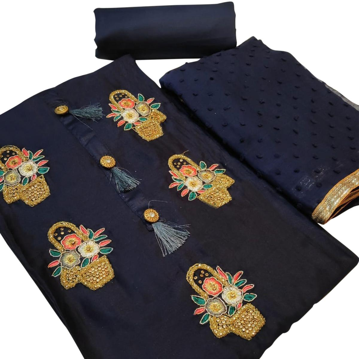 Trendy Navy Blue Colored Partywear Embroidered Art Silk Dress Material