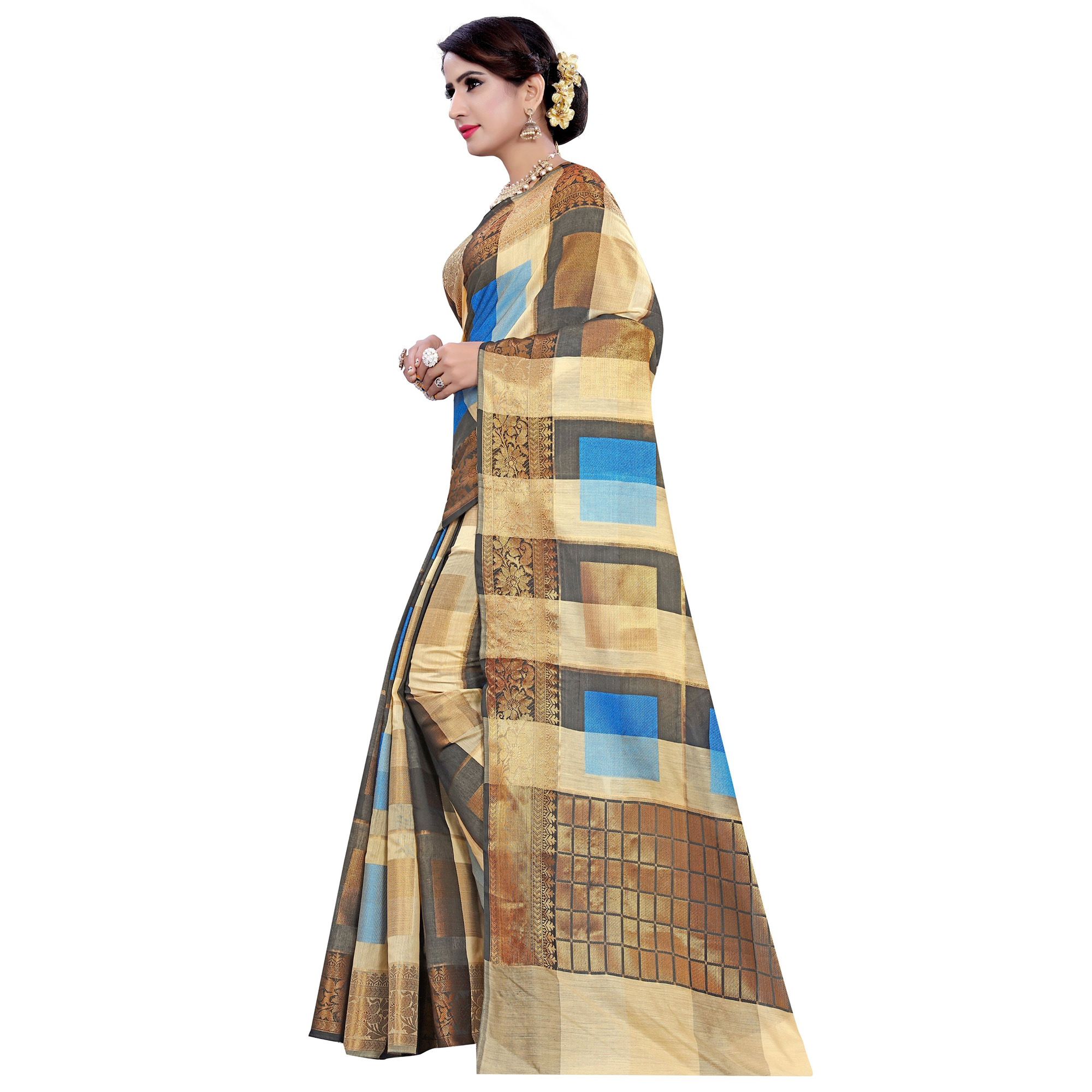 Alluring Beige-Firozi Colored Casual Printed Pure Cotton Jacquard Saree