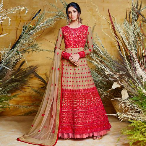 Glowing Red-Brown Colored Partywear Embroidered Net Gown