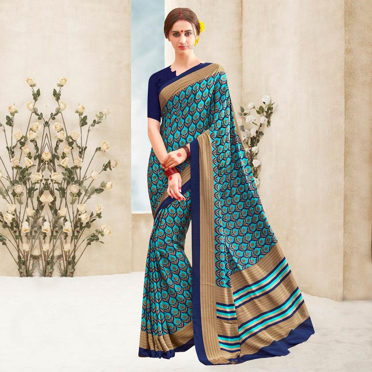 Blue Printed Crepe Casual Saree