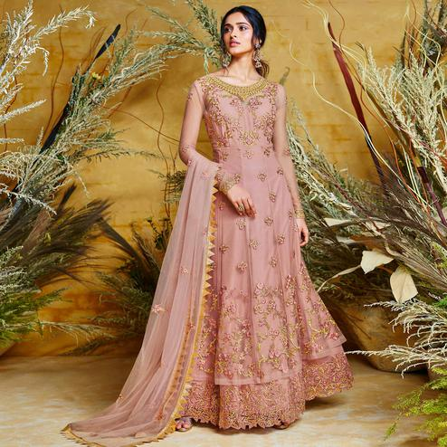Exceptional Pink Colored Partywear Embroidered Net Gown
