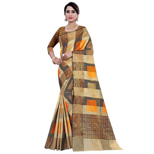 Ethnic Beige-Orange Colored Casual Printed Pure Cotton Jacquard Saree