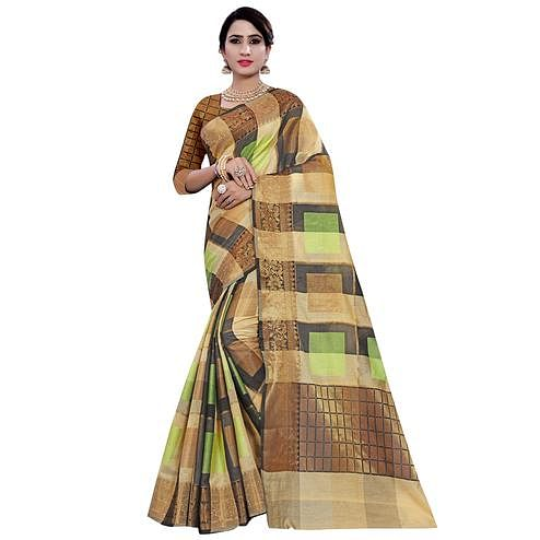 Majesty Beige-Green Colored Casual Printed Pure Cotton Jacquard Saree