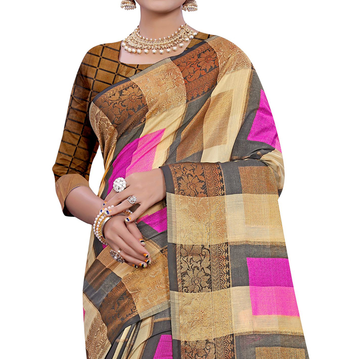 Lovely Beige-Pink Colored Casual Printed Pure Cotton Jacquard Saree