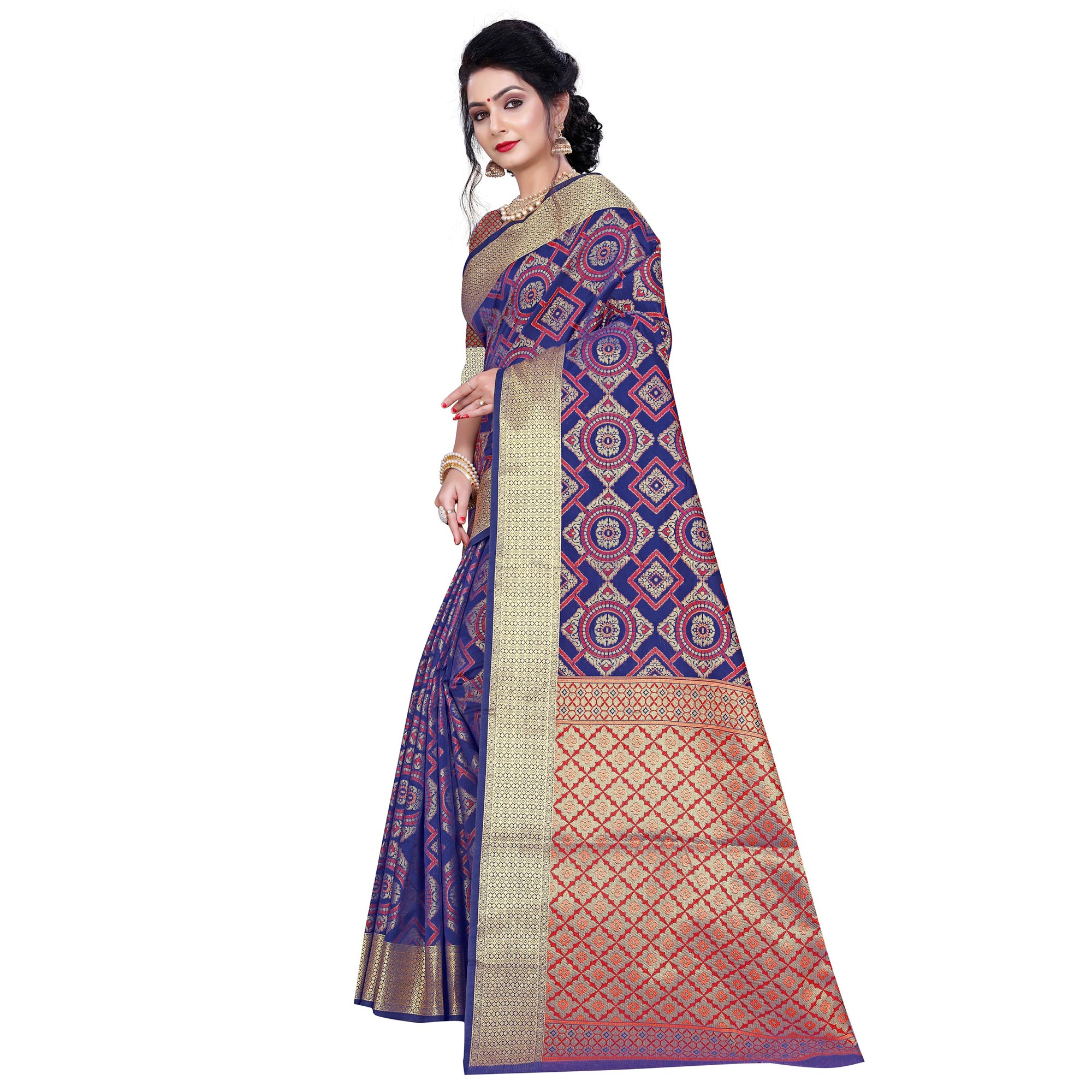 Adorable Blue Colored Festive Wear Woven Banarasi Silk Saree