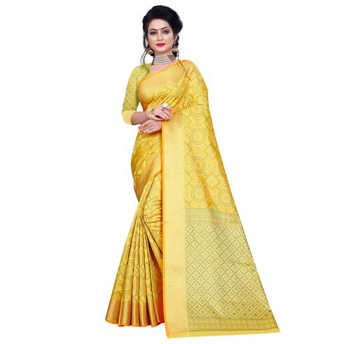 Glorious Golden Yellow Colored Festive Wear Woven Banarasi Silk Saree