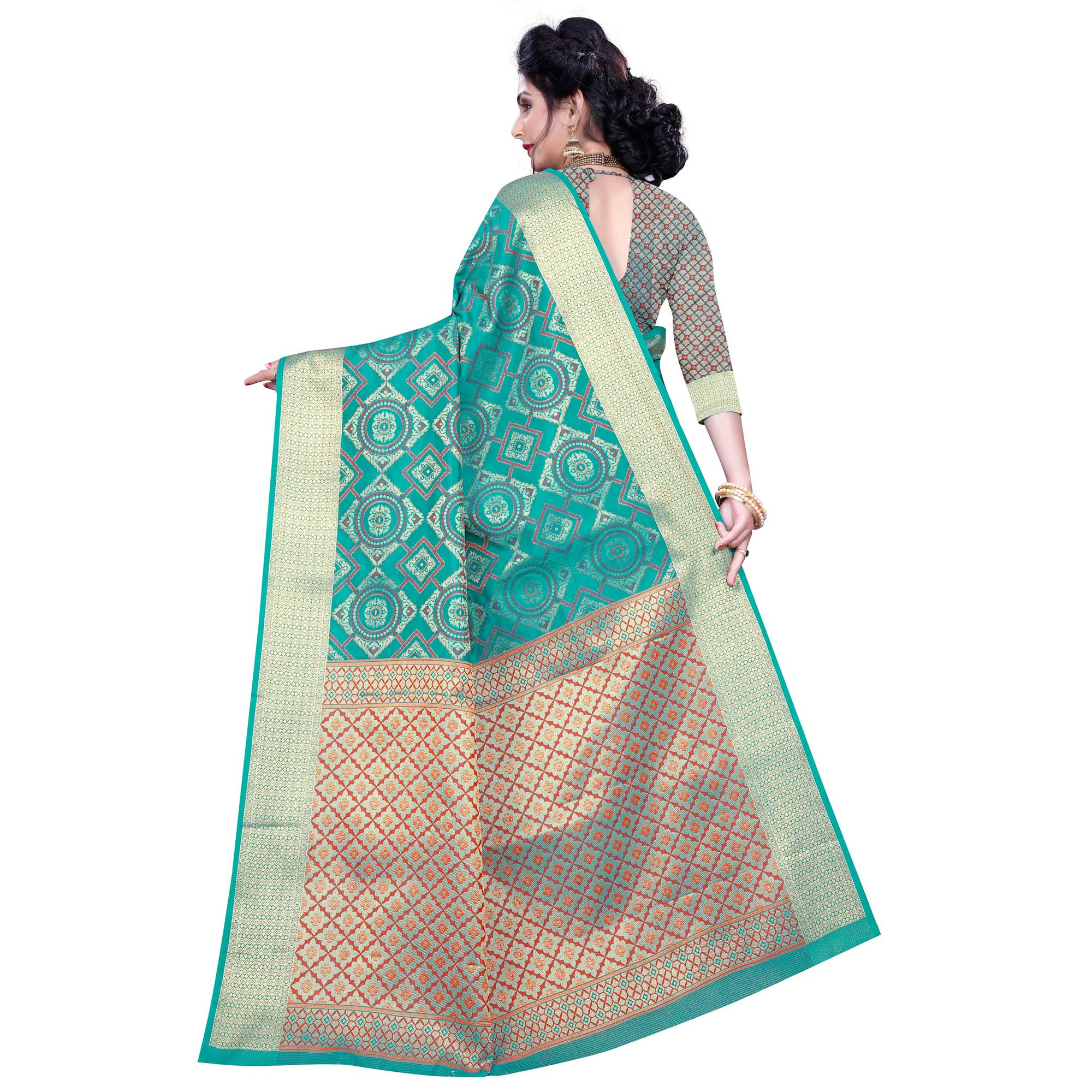 Attractive Turquoise Green Colored Festive Wear Woven Banarasi Silk Saree