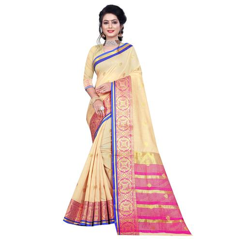 Exceptional Beige Colored Festive Wear Woven Pure Cotton Saree