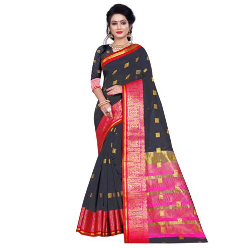 Gleaming Black Colored Festive Wear Woven Pure Cotton Saree