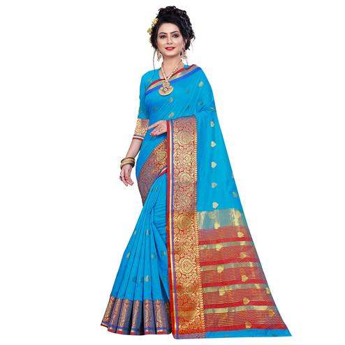 Mesmeric Firozi Colored Festive Wear Woven Pure Cotton Saree