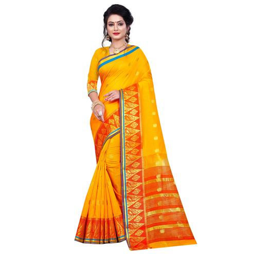 Unique Yellow Colored Festive Wear Woven Pure Cotton Saree