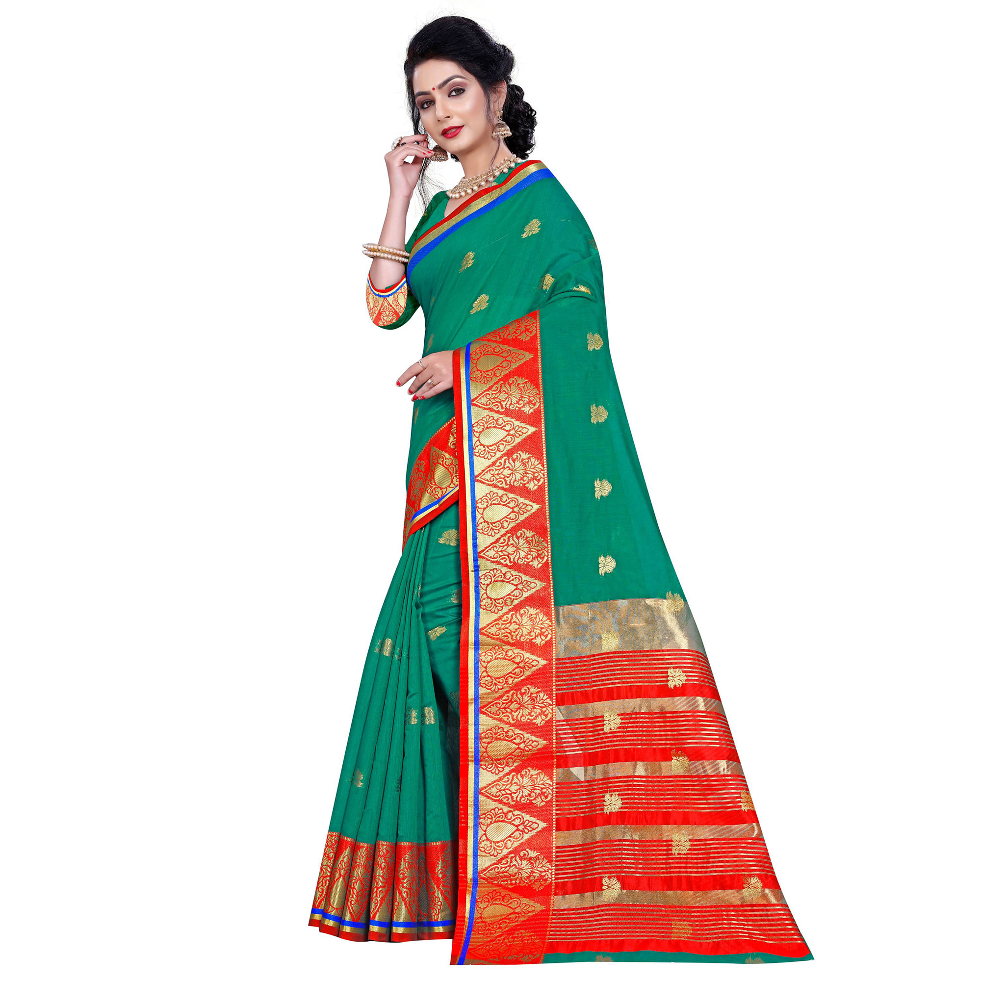 Demanding Turquoise Green Colored Festive Wear Woven Pure Cotton Saree