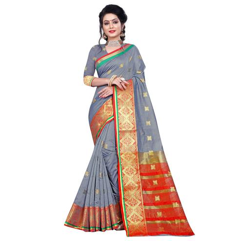 Refreshing Grey Colored Festive Wear Woven Pure Cotton Saree