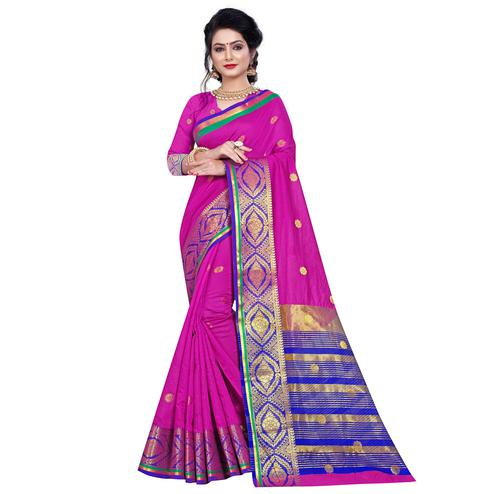Magnetic Dark Pink Colored Festive Wear Woven Pure Cotton Saree