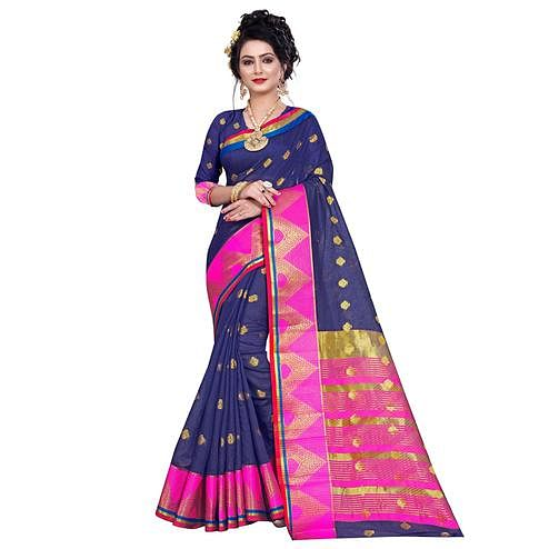 Hypnotic Navy Blue Colored Festive Wear Woven Pure Cotton Saree