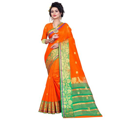 Flattering Orange Colored Festive Wear Woven Pure Cotton Saree