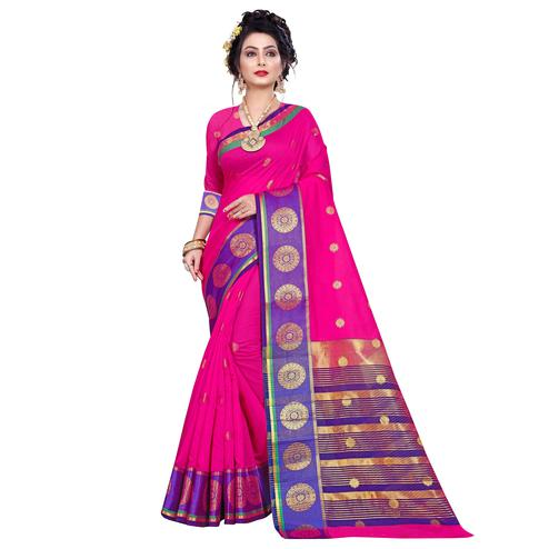 Preferable Pink Colored Festive Wear Woven Pure Cotton Saree