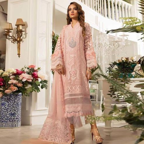Mesmeric Peach Colored Partywear Embroidered Pure Organza Pant Style Kashimiri Suit