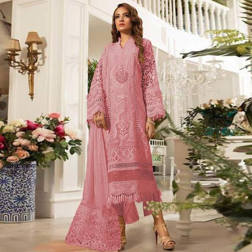 Magnetic Pink Colored Partywear Embroidered Pure Organza Pant Style Kashimiri Suit