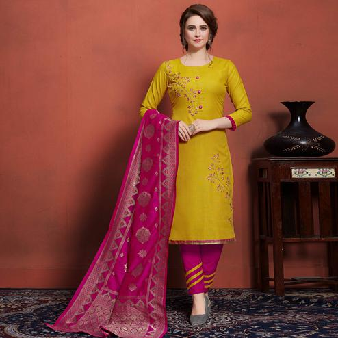 Trendy Lemon Green Colored Festive Wear Embroidered Cotton Dress Material With Banarasi Silk Dupatta