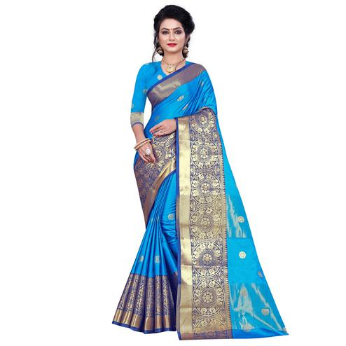 Intricate Firozi Colored Festive Wear Woven Cotton Silk Saree