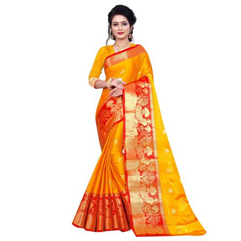 Arresting Yellow Colored Festive Wear Woven Cotton Silk Saree
