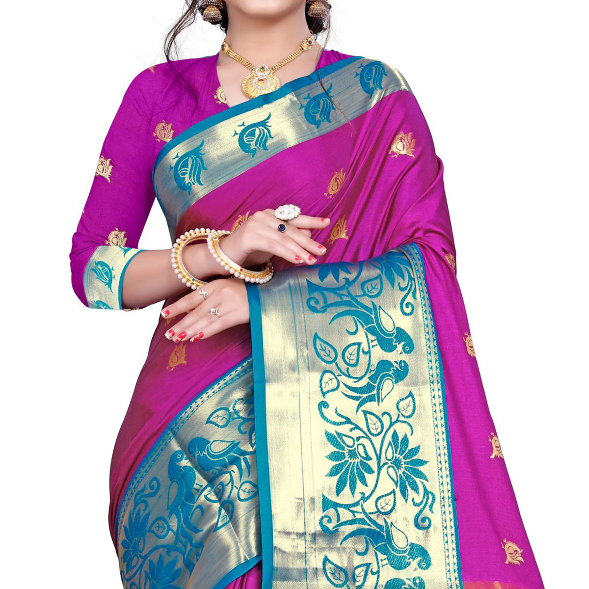 Exotic Dark Pink Colored Festive Wear Woven Cotton Silk Saree