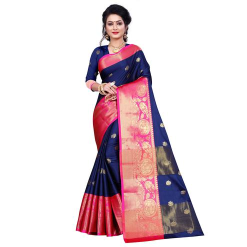 Sophisticated Navy Blue Colored Festive Wear Woven Cotton Silk Saree