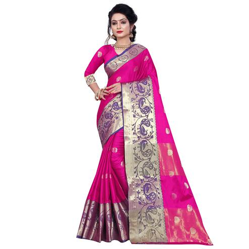 Elegant Pink Colored Festive Wear Woven Cotton Silk Saree