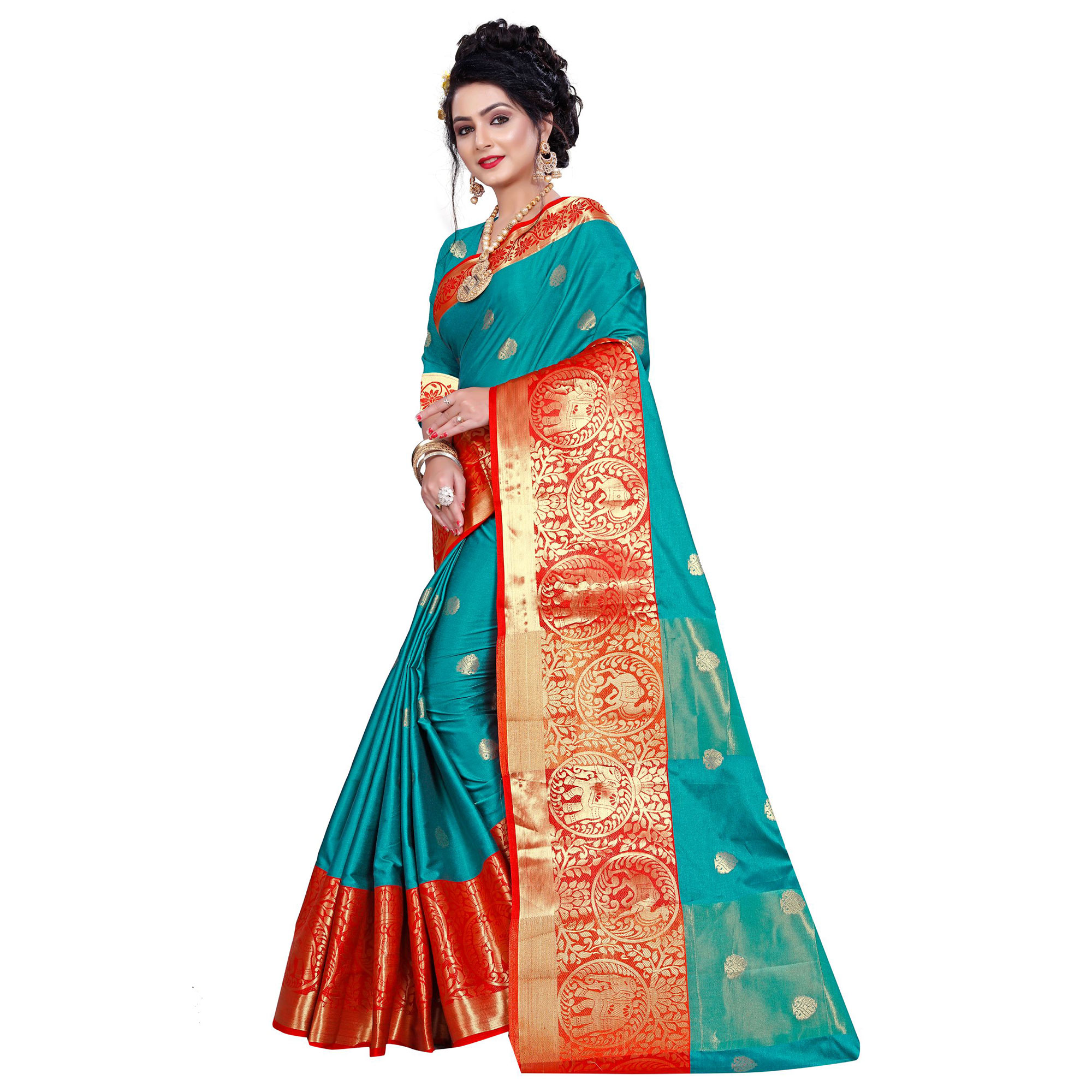 Radiant Turquoise Green Colored Festive Wear Woven Cotton Silk Saree