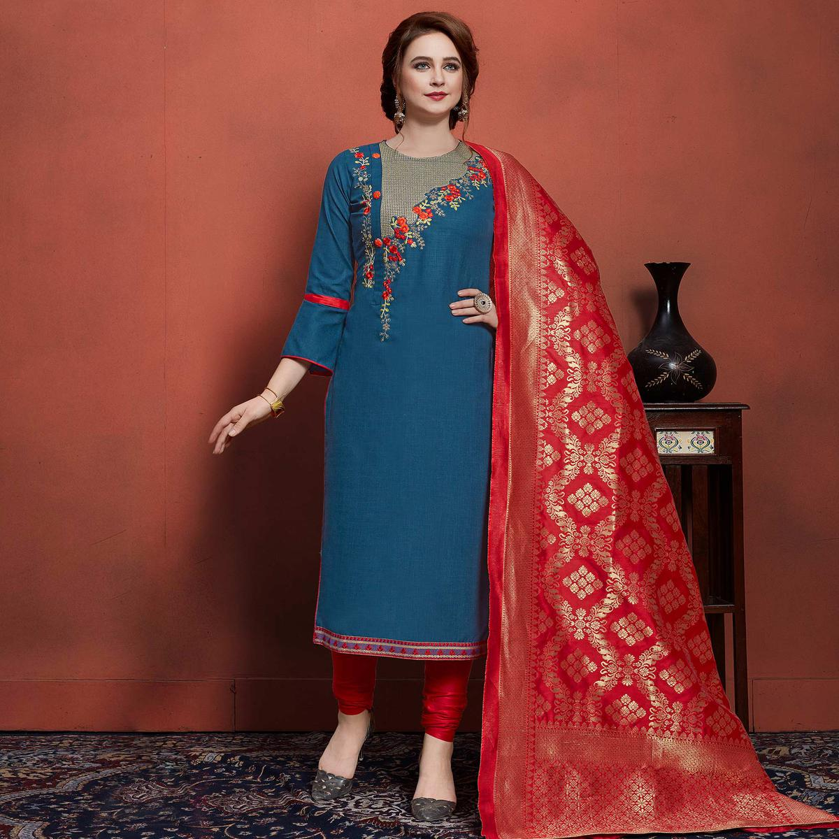 Beautiful Blue Colored Festive Wear Embroidered Cotton Dress Material With Banarasi Silk Dupatta