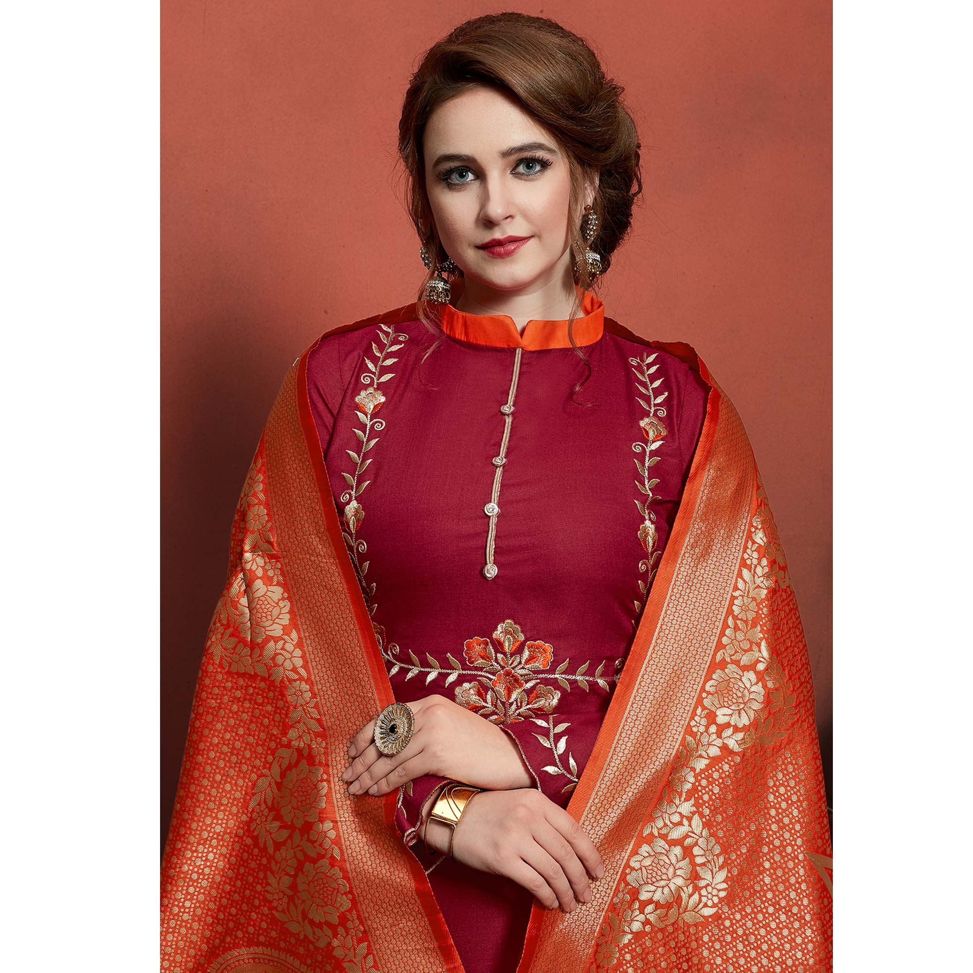 Graceful Red Colored Festive Wear Embroidered Cotton Dress Material With Banarasi Silk Dupatta